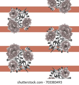 Seamless pattern of beige flowers of peony on a white background with deep red horizontal stripes. Watercolor