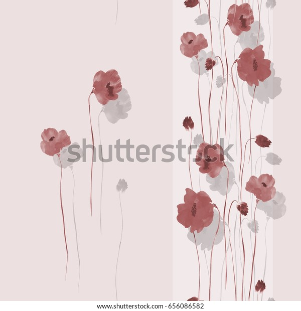 Seamless pattern of beige and gray flowers on a light pink background with vertical stripe. Watercolor