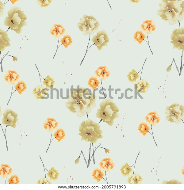 Seamless pattern of beige and orange flowers and bouquets on a light green background. Watercolor