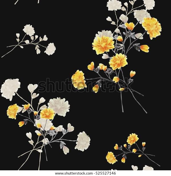 Бесшовные узоры бежевых и желтых цветов и ветвей на черном фоне. Акварель