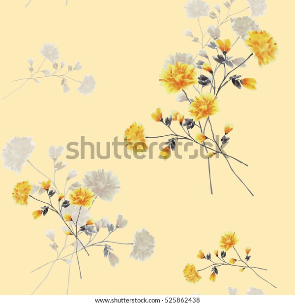 Seamless pattern of beige and yellow flowers and branches on the beige background. Watercolor