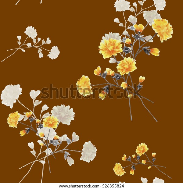 Seamless pattern of beige and yellow flowers and branches on the chocolate background. Watercolor