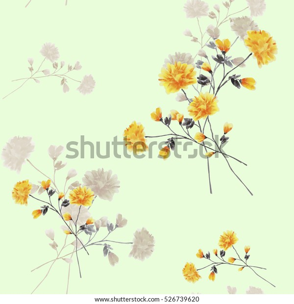 Seamless pattern of beige and yellow flowers and branches on a light green background. Watercolor