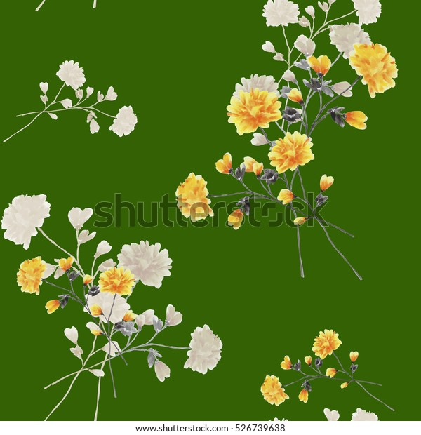 Seamless pattern of beige and yellow flowers and branches on a deep green background. Watercolor