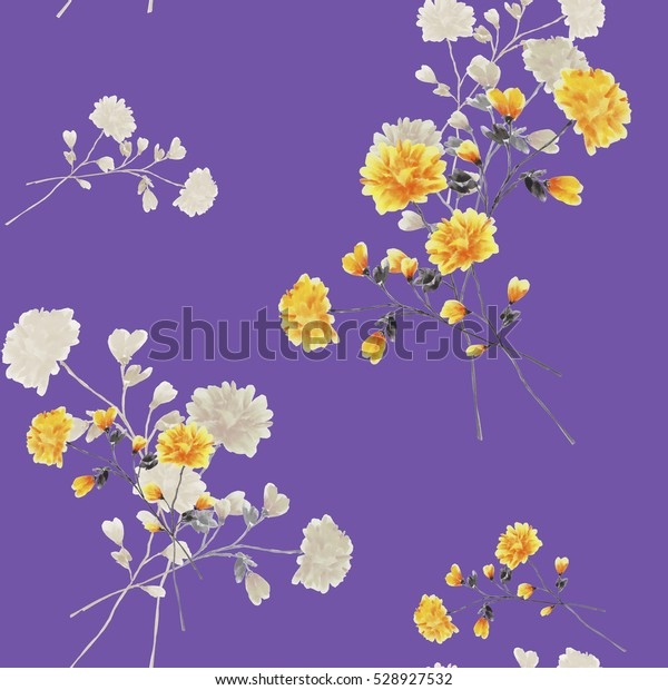 Seamless pattern of beige and yellow flowers and branches on a violet background. Watercolor