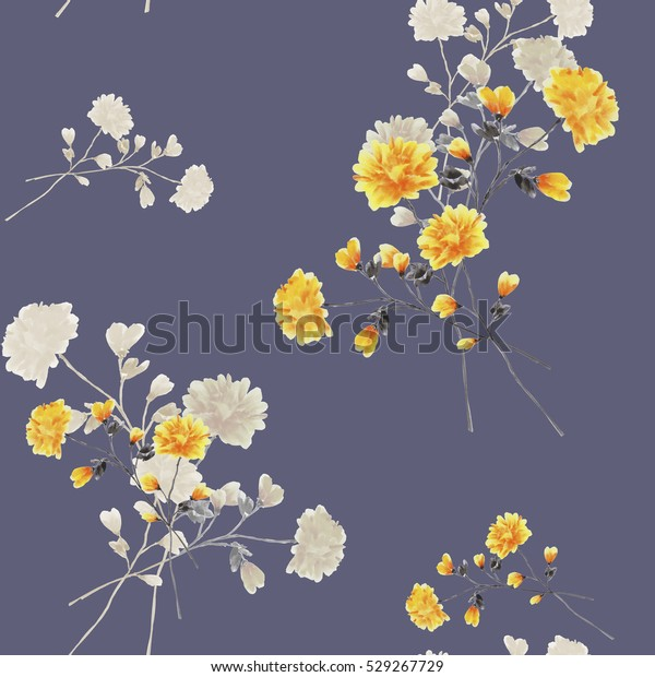 Seamless pattern of beige and yellow flowers and branches on a deep gray background. Watercolor