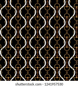 Seamless pattern with belts and chain.