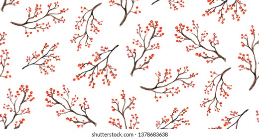 Seamless pattern of berries and branch, drawing watercolour. Perfect for fabric textile. Design for invitation, wedding or greeting cards.