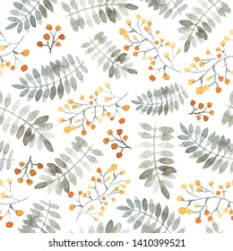 Seamless pattern with berry branches and leaves. Orange, paleblue colors. White background. Modern watercolor