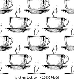 Seamless pattern with big ceramic cup in vintage engraved style on white background.
