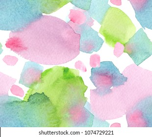 Seamless pattern with big pink, blue and green blots and brush strokes painted in watercolor on white background