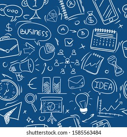 Seamless pattern. Big set of hand-drawn business icons on a trendy blue background. Color 2020. Doodle style.