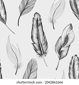 Seamless pattern of bird feathers, hand-drawn on a beige background in boho style.