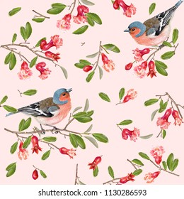 Seamless pattern with bird on a pomegranate branch on pink background. Romantic background design for wedding, greeting card, wrapping paper, textile print