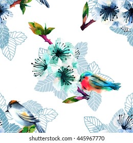 seamless pattern with birds and flowering branch