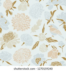 Seamless pattern with birds and flowers. Peony, chrysanthemum, clover, tulip. Raster copy.