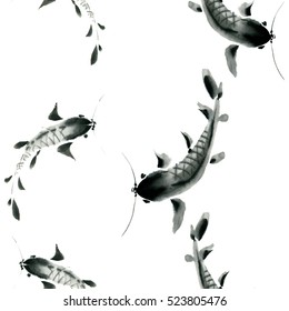 Seamless pattern black fish on white background painted in traditional oriental style. Free brush, watercolor, ink.