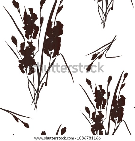 Seamless pattern of black flowers of iris on a white background. Watercolor