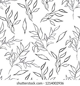 Seamless pattern with black leaf on white background