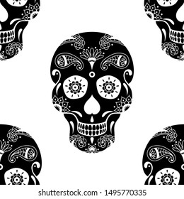 seamless pattern of black sugar skull with floral pattern on white background. Illustration for Mexican Day of the Dead