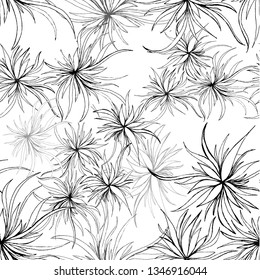 Seamless pattern of black and white botanical flowers on white background. Hand drawn sketch