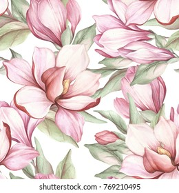Seamless pattern with blooming magnolia. Watercolor illustration.