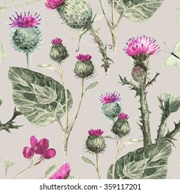 Seamless pattern with blooming thistles. Watercolor Botanical illustration. Vintage pastel pattern.
