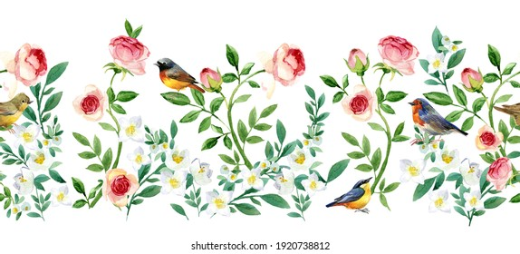 Seamless pattern with blossom garden flowers and birds. floral banner prety design