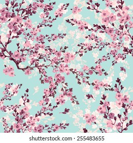 seamless pattern of blossoming branch