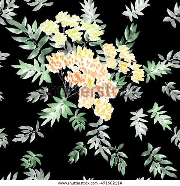 Seamless pattern of blossoming spring branch with orange, yellow flowers and gray and green leaves on a black background. Watercolor