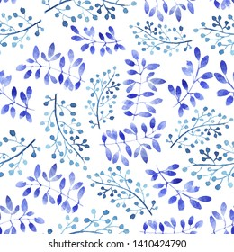 Seamless pattern with blue branches. White background. Modern watercolor