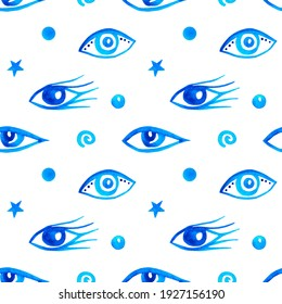 Seamless pattern with blue eyes on white background. Hand painted watercolor illustration. Backdrop for wallpapers and souvenirs in yoga and mental health themes. Picture for talismans from  evil eye.