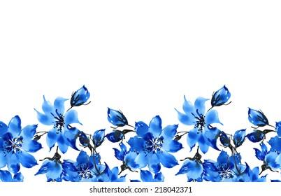 Seamless pattern of blue flowers border