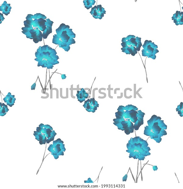 Seamless pattern of blue flowers and bouquets on a white background. Watercolor