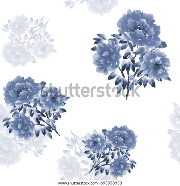 Seamless pattern of blue flowers and bouquets on a white background. Watercolor-1