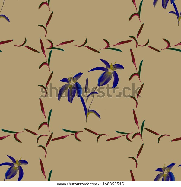 Seamless pattern of blue flowers with climbing plants on a beige background. Watercolor