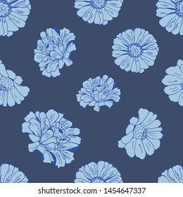 Seamless pattern with blue flowers daisy, zinnia, camomile for textile, bedlinen, pillow, undergarment, wallpaper, clothing, kerchief. Jeans style.