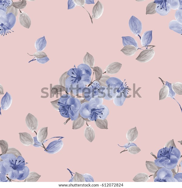 Seamless pattern of blue flowers and gray branches on a pink background. Watercolor