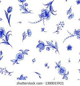 Seamless pattern of blue flowers on a white background, an ornament in the Dutch style, Delft, Gzhel, Japanese porcelain, background for different designs: dishes, fabrics, etc.