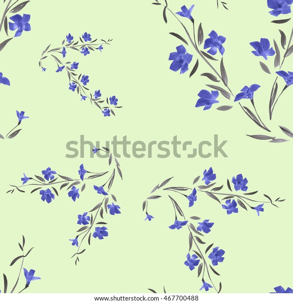 Seamless pattern of blue flowers on a green background. Watercolor.