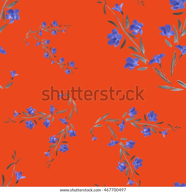 Seamless pattern of blue flowers on a red background. Watercolor.