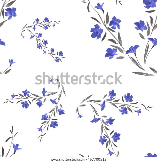 Seamless pattern of  blue flowers on a white background. Watercolor.