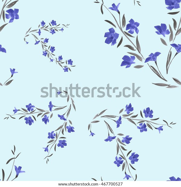 Seamless pattern of blue flowers on a sky blue background. Watercolor.