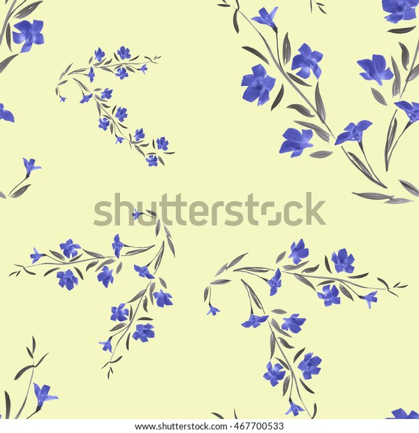 Seamless pattern of  blue flowers on a yellow background. Watercolor.