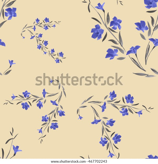 Seamless pattern of  blue flowers on a beige background. Watercolor.