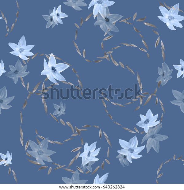 Seamless pattern of blue flowers and paisley on a deep blue  background. Watercolor
