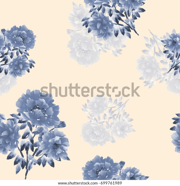 Seamless pattern of blue flowers of peonies on a light beige background. Watercolor-1