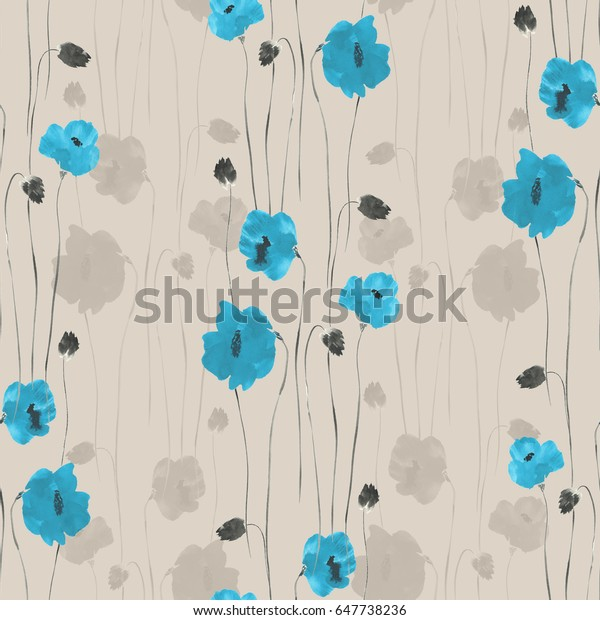 Seamless pattern of blue flowers of poppies on a light beige background. Watercolor