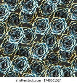 Seamless pattern of blue and golden roses. 3d illustration