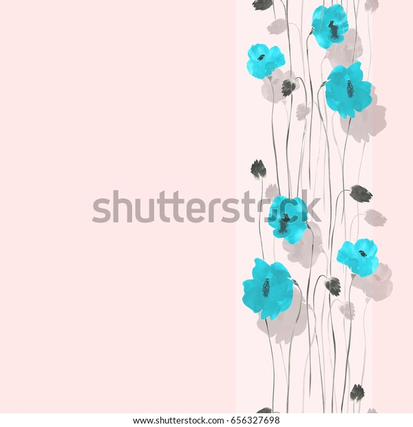 Seamless pattern of blue and gray flowers on a light pink background with vertical stripe. Watercolor
